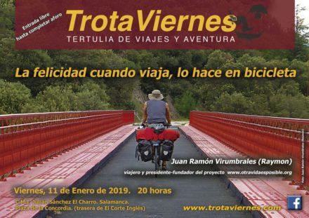 La felicidad cuando viaja, lo hace en bicicleta.